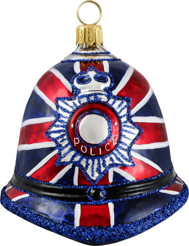 Union Jack flag bobby hat ornament.