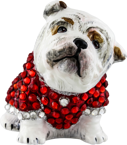 Bulldog with crystal encrusted coat.
