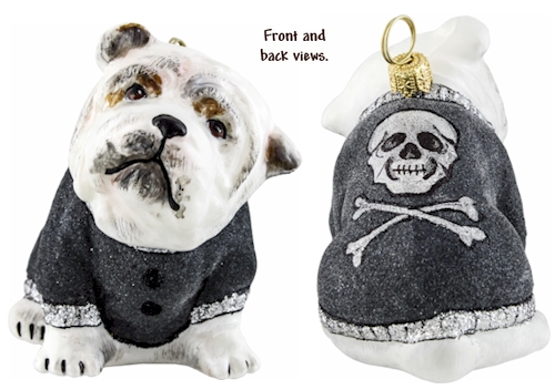 Bulldog in Gray Flocked Coat ornament