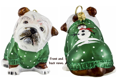 Bulldog in green snowy sweater ornament.
