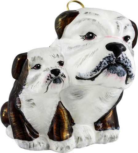 Bulldog mother with puppy in brown and white.