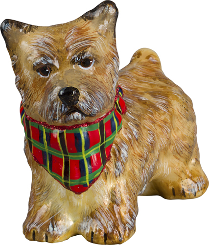Glass Christmas Ornaments- Cairn Terrier Cream with Ornament