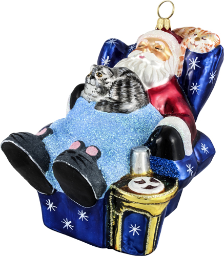 Santa and cats sleeping in recliner ornament.