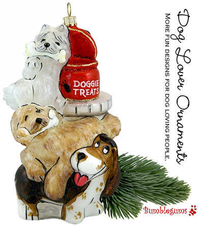 Dog Christmas Ornament- Three Dogs and Treats