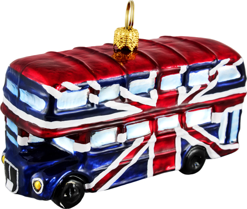 Union Jack flag British double decker bus.