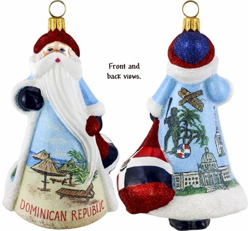 Glass Christmas Ornaments Dominican Republic Santa Ornament