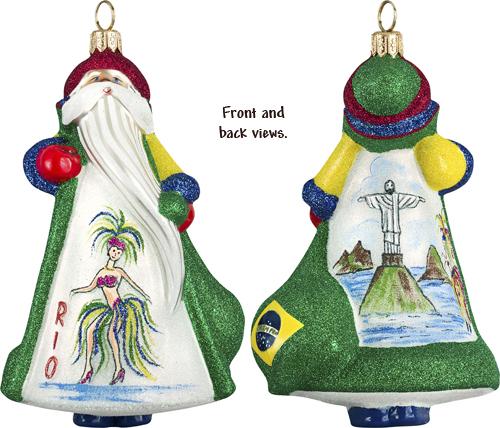 Glass Christmas Ornaments- Brazil Santa Ornament