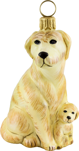 Labrador Retriever with puppy- yellow.