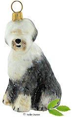 Glass Christmas Ornament- Old English Sheepdog