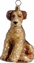 Airedale glass Christmas ornament.