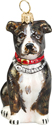 American Staffordshire Terrier glass Christmas ornament.