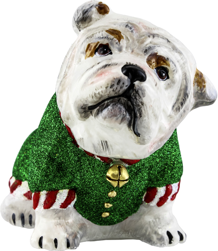 Santa's little helper Bulldog ornament