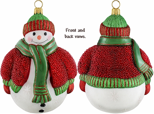Snowman with red beaded sweater Christmas ornament.