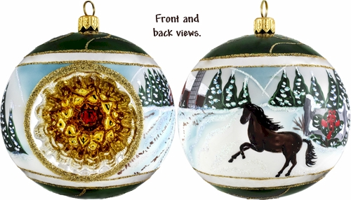 Snowy barn with stallion reflector ball ornament.