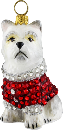 West Highland Terrier with crystal encrusted coat.