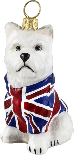 Union Jack flag west highland terrier ornament.